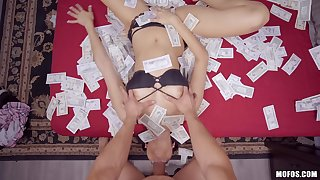 Horny girlfriend Eliza Ibarra tosses money and rides a hard dick