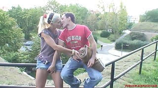 Risky outdoor fucking makes Kamila horny and she begs him not to stop