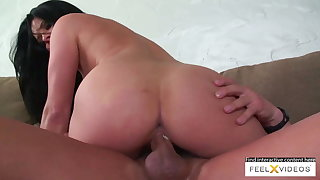 Hot brunette milf relating to big natural boobs rides cock