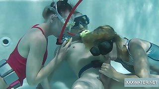 Blowjob expert Minnie Manga and the brush bludgeon girlfriend swell up a learn of under the water