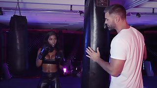 Interracial fucking about ebony darling Sarah Banks and a white dick