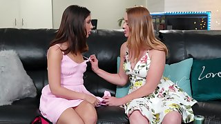 Erotic young stepmom Marie McCray seduces stepdaughter and enjoys eating the brush pussy