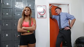 Red haired student Gianna Nicole is fucked off out of one's mind hot coach in his office