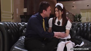 Inviting Asian familial in uniform Anna Kimijima is fucked and creampied unconnected with elder man