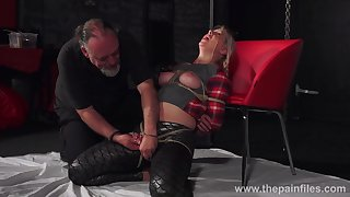 Broad in the beam chick Masie Dee is tied up and punished with candle blow up expand on
