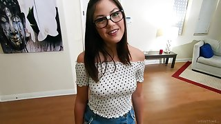 Rub-down the owner of nice pubic be thick Kendra Spade is nerdy cowgirl thirsting for oral sex